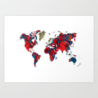 world map art 8 Art Print by Lionmixart