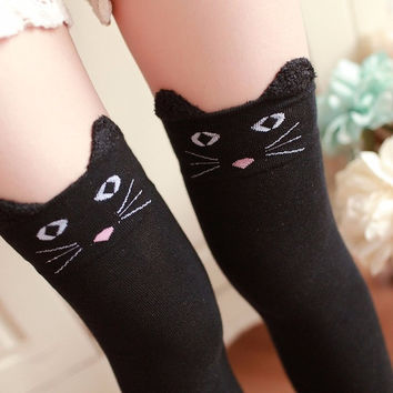 Over The Knee Socks Kawaii Cats Bear Panda Warm Long Socks Warm Socks Calcetas Largas#121 SM6