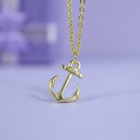 Petite Anchor Necklace, Gold Plated Brass Pendant, Delicate Chain, Everyday Wear, Perfect Gift