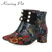 Krazing Pot high street fashion cow suede flowers bowtie pearl embroidery high heels round toe European beauty ankle boots L80