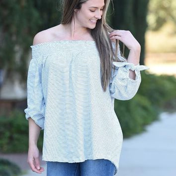 Stripe Off Shoulder Tunic