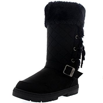 Womens Roap Lace Back Tall Buckle Winter Snow Rain Boots