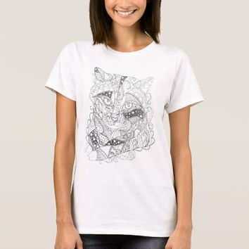 Colorable Cat Abstract Art Adult Coloring T-Shirt