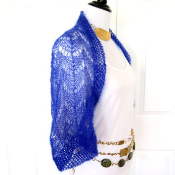 Royal blue silk shrug, Hand knit kid mohair and silk sweater, luxury knitwear