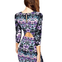 Floral Hip Cut Out Bodycon Mini Dress with Sleeve