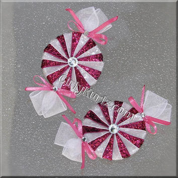 GLITTER Shocking Pink Peppermint Candy Hair Bow