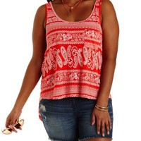 Plus Size Red Combo Paisley Print Flyaway Tank Top by Charlotte Russe