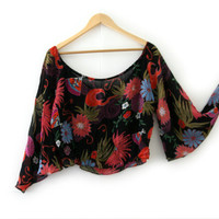 Vintage Shirt ~ Size Small/Medium S/M ~ 70s Hippie Disco Floral Bell Sleeve Black Pink Red Blue Sheer Crop Top ~ By Charlotte Russe