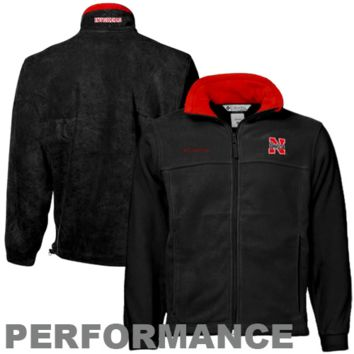 Columbia Nebraska Cornhuskers Charcoal Flanker Full Zip Performance Fleece Jacket