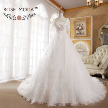 Lace Batwing Sleeves A Line Wedding Dress Pearl Beaded Bridal Gown Vestidos de Noiva Real Photos
