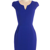 Cap Sleeves Shift Cove Conference Dress