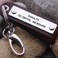 GPS Coordinate keychain - Personalized Latitude Longitude keychain - Leather key chain - Father Day Keychains