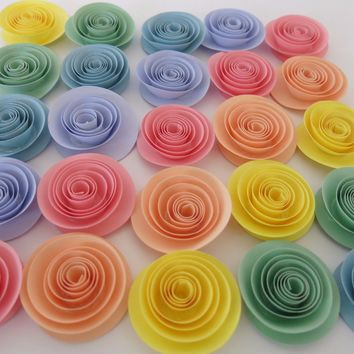 "Pastel colors paper flower set of 24, 1.5"" roses, light color rainbow baby shower decor, boy and girl decorations, gender neutral nursery decor gift"