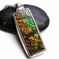 rare Ammolite pendant silver, green red Ammolite necklace, mens gemstone pendant gift for him, dragon skin pendant, genuine fossil pendant