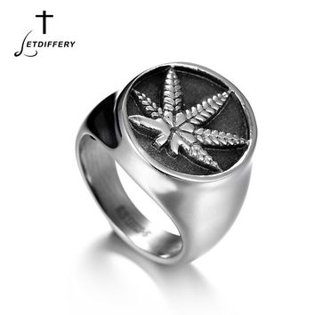 Letdiffery Equisite Stainless Steel Ice Out Weed Signet Ring Religious Maple Leaf Ring For Men Mujer