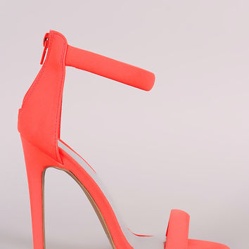 Qupid Nubuck Ankle Strap Open Toe Heel