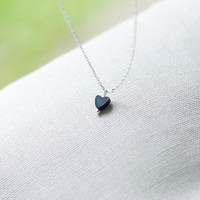 Tiny Blue Heart Necklace by ritasoy on Etsy