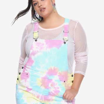 Rainbow Tie Dye Shortalls Plus Size