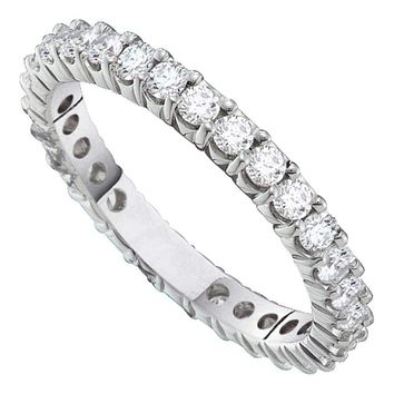 14kt White Gold Women's Round Pave-set Diamond Eternity Wedding Band 2.00 Cttw - FREE Shipping (US/CAN)