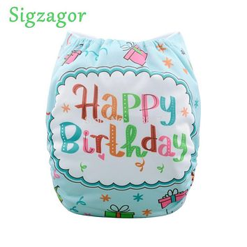 [Sigzagor] Baby Pocket Cloth Diaper Nappy,Reusable,Washable,Adjustable,Happy Birthday,Cake,Gift Skull Fox 240 Designs