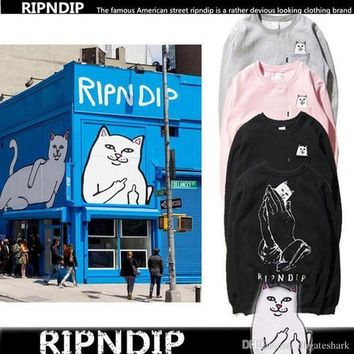 Original RIPNDIP Fashion Brand Men's And Women's Ripndip Pockets Cat Pullover Hoodies O-Neck Hip-hop Ripndip Sweatshirt Hoodie