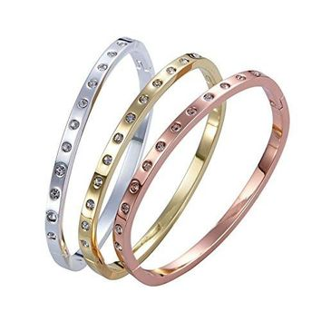 Inlay Zircon Diamond Screw Bangle Cuff