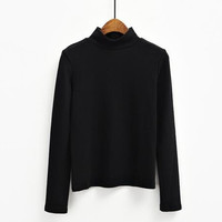 Chic   Style Long Sleeved Turtleneck Sanding T-shirt Bottoming Basic All-match Solid Slim Tee Shirt Tops