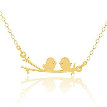 Gold Silver Color Cute Loving Birds On Branch Pendant Necklaces For Women Stainless Steel Chain Choker Statement Necklace Bijoux