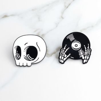 Cartoon White Skeleton Skull Black Record Hands DJ Hands Pin Denim jacket Shirt Collar Lapel Pins Buckle Badges Punk Goth Brooch