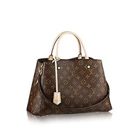 LV Women Shopping Leather Tote Handbag Shoulde  louis Vuitton Montaigne MM Monogram Handbag Article: M41056 Made in France