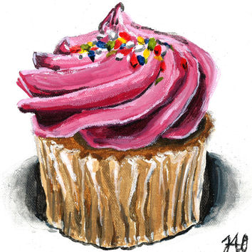Pink Birthday Cupcake Painting 8x10 Matted Art Print 5x7 Wall Art