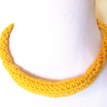 Yellow Necklace Crochet Rope Fiber Cotton Metal Free Statement