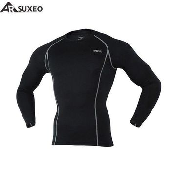 PEAPFS2 2017 ARSUXEO Men Compression Tights Base Layer Running Long Sleeves Shirts  Workout GYM T Shirt Clothing C19