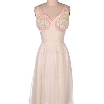 Vintage Sheer & Lace 2PC Peignoir Pink 1950s Classic Eye-Ful Label Small 34
