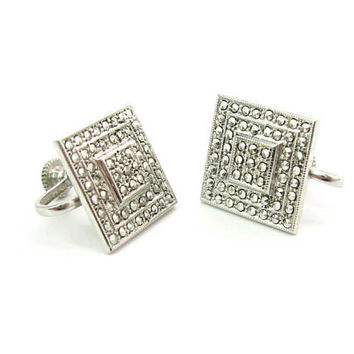 Art Deco Sterling Silver Earrings Square Geometric Stepped Milgrain Marcasite Studded Screw Backs Vintage 1980s Fashion Jewelry