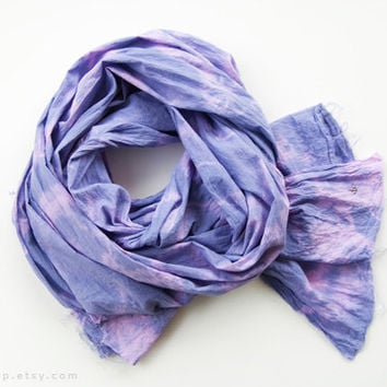 CLOUD PURPLE - tie dyed cotton scarf. Hand dyed. Oversized, lightweight wrap, shawl. Fashion, women accessories.
