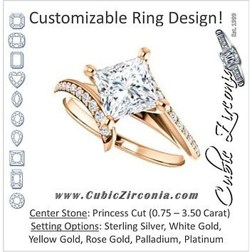 Cubic Zirconia Engagement Ring- The Cassy Anya (Customizable Princess Cut Artisan Bypass with Pavé Band)