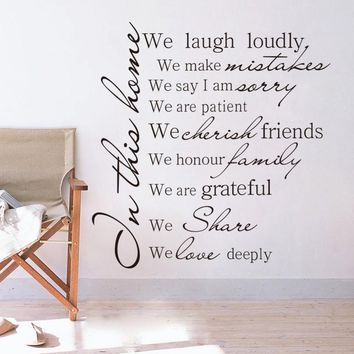 """Family Rules """"In this house we laugh loudly..."""" Vinyl Wall Sticker"""