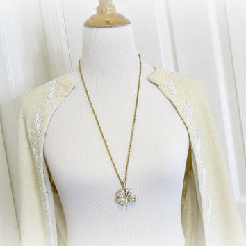 Vintage KENNETH Jay LANE Necklace, Crystal 4 Leaf Clover Necklace, Long Chunky Gold Pendant Necklace, 1990s High-End Statement Jewelry