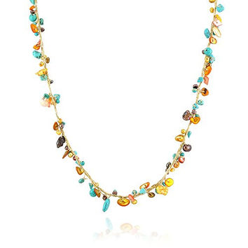 Silk Thread and Genuine Bronze Mother of Pearl Shell Blue Turqoise Gemstone Beads Long Necklace