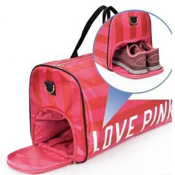 Hot-selling  girl stripe duffle pink bag nylon Victoria beach shoulder bag large capacity secret Overnight weekender vs bag
