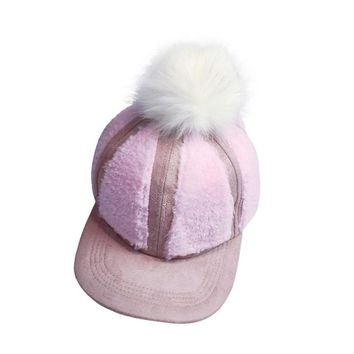 2017 Women Winter Cap Sheep Velvet Fluff Ball Baseball Cap Women Snapback Hip Hop Flat Hat with Fur Pompom for Female Gorras