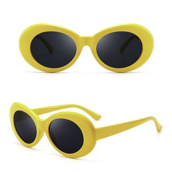 Round Frame Vintage Sunglasses - White/yellow