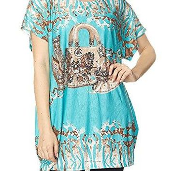 Belle Donne : ITY Allover Shoes and Bag Print Tunic Top with Embellishment