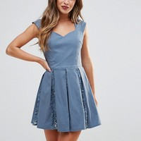 City Goddess Petite Skater Mini Dress With Sequin Pleat Detail at asos.com