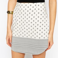 ASOS PETITE Exclusive Mini Skirt in Border Print