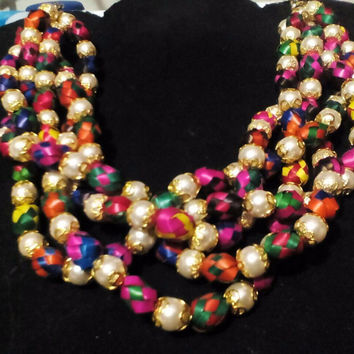 Pearl & Palm Leaf Necklace Multicolor