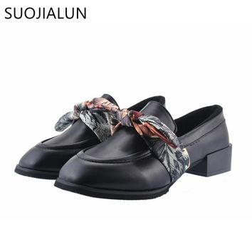 SUOJIALUN Women Shoes Spring Autumn Slip On Loafers Fashion Butterfly-knot Riband Brogues Fringe Shoes Woman Oxford Shoes