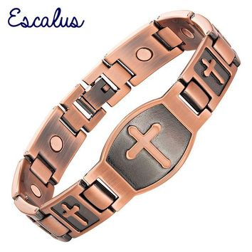 Escalu Men Cross Pattern Antique Copper Magnetic Bracelet Christian Fashion Bangle Jewelry Jesus