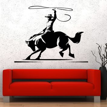 Vinyl Wall Decal Horse Cowboy Wild West Western Ranch Stickers Unique Gift (824ig)